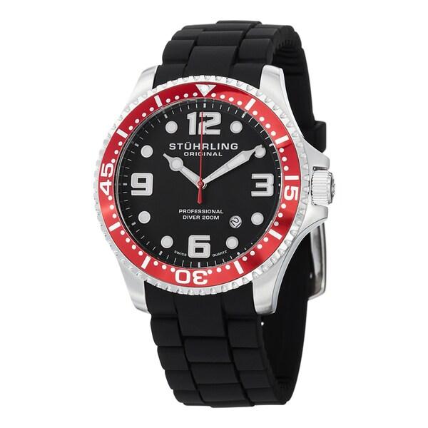 93e9311ba Stuhrling Original Men's Swiss Quartz Aquadiver Rubber Strap Watch