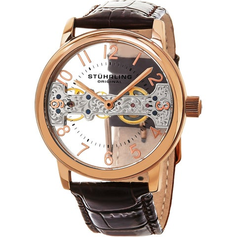 Stuhrling Original Men's Mechanical Legacy Leather Strap Watch