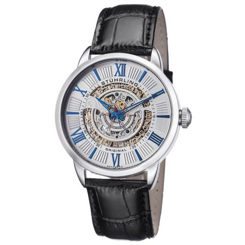 Stuhrling Original Men's Automatic Delphi Leather Strap Watch