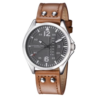 Stuhrling Original Men's Quartz Leather Strap Watch