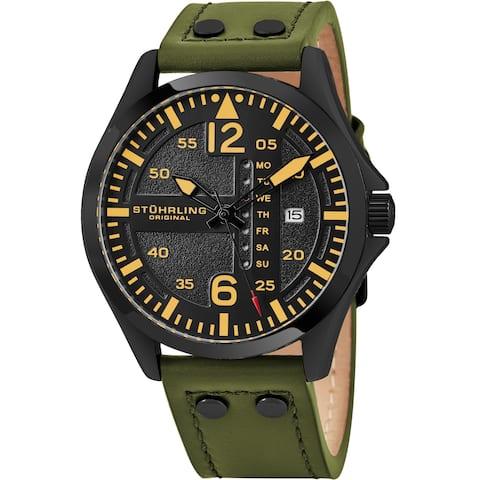 Stuhrling Original Men's Aviator Quartz Leather Strap Watch