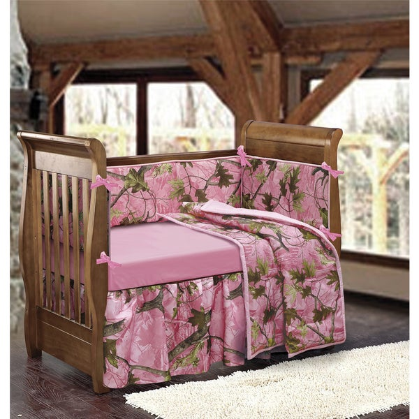 Hiend Accents S X27 Pink Camo Crib Bedding Set