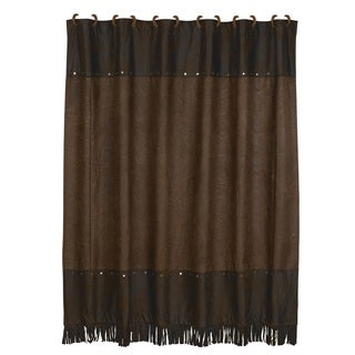 HiEnd Accents Chocolate Tooled Leather Shower Curtain