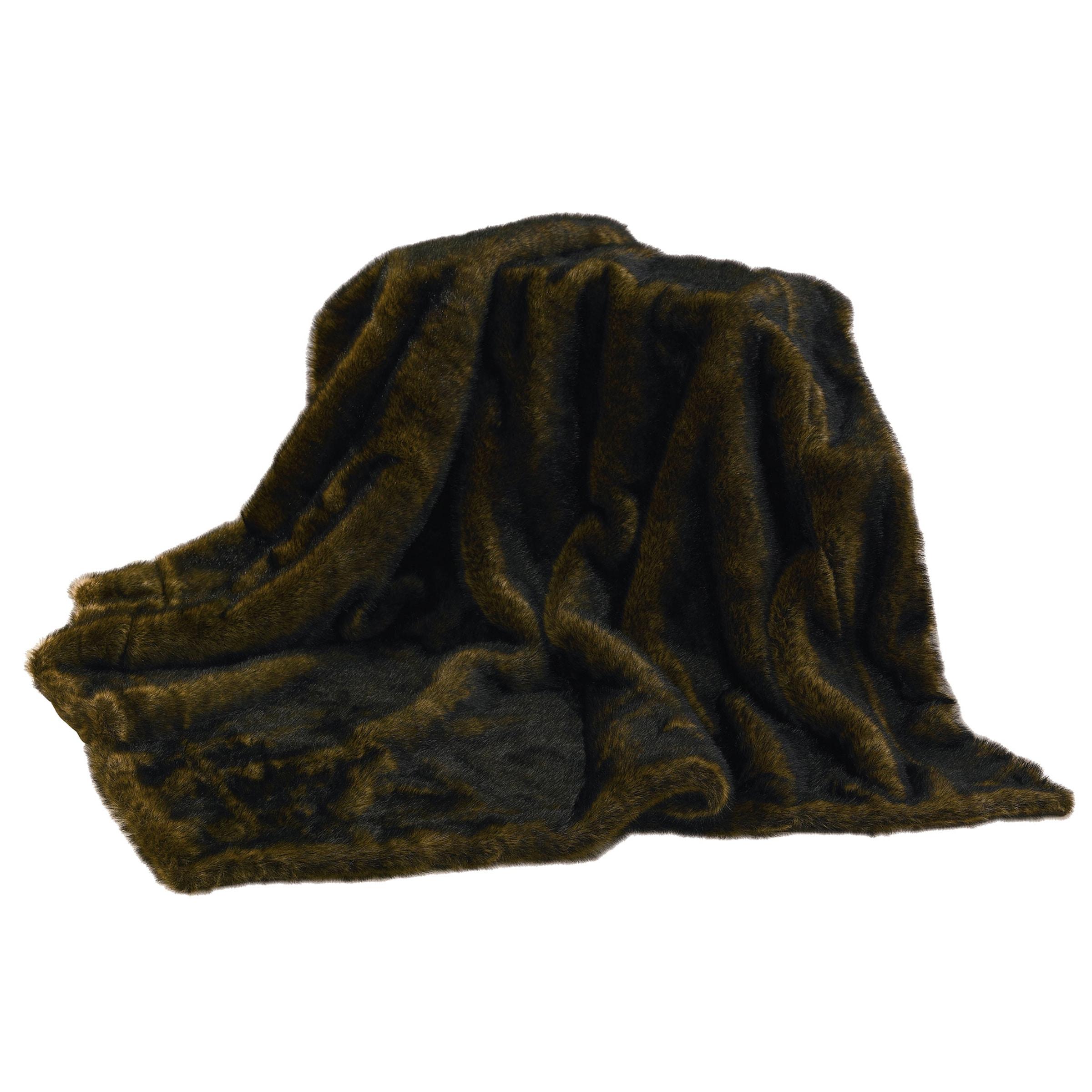 HiEnd Accents Brown Mink Faux Fur Throw (Brown Throw), Bl...