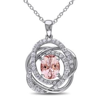 Miadora Sterling Silver White Sapphire Morganite Necklace