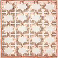 Safavieh Indoor/ Outdoor Amherst Ivory/ Orange Rug - 7' x 7' Square