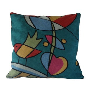 Handmade Two Bird Chainstitch Accent Pillow (India)