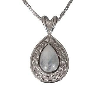 Sterling Silver Tear-drop Natural Moonstone Celtic Necklace (Thailand)