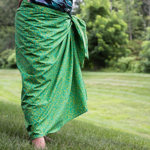 Handmade Sustainable Threads Printed Green Tea Sarong (India)