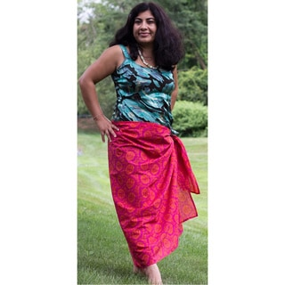 Sustainable Threads Handmade Printed Raspberry Caramel Sarong (India)