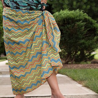 Handmade Sustainable Threads Printed Butter Pecan Sarong (India)