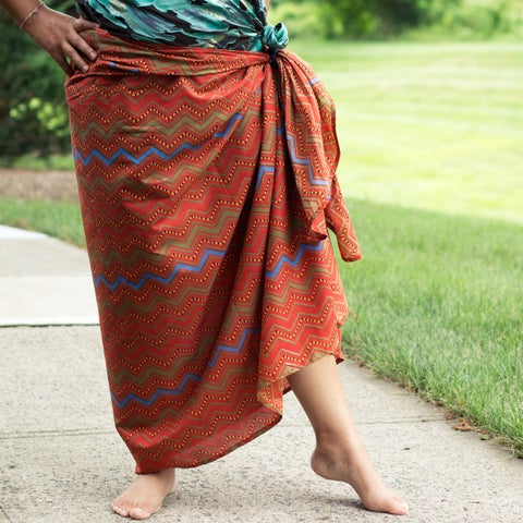 Handmade Sustainable Threads Printed Toffee Chevron Sarong (India)
