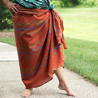 Sustainable Threads Hand-screen Printed Toffee Chevron Sarong (India)