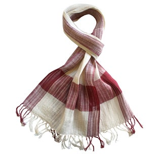 Sustainable Threads Handmade Red Cherries and Cream Plaid Scarf (India)