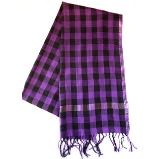 Sustainable Threads Midnight/ Violet Plaid Hand-Woven Scarf