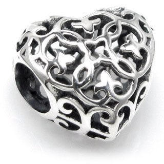 Queenberry Sterling Silver Ethnic Flower Love Heart Filigree European Bead Charm