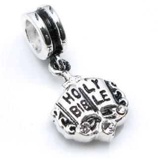 Queenberry Sterling Silver Holy Bible Clear Cubic Zirconia Dangle European Bead Charm
