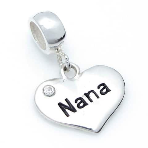 Queenberry Sterling Silver Nana Heart Love Cubic Zirconia Crystal Dangle Family European Bead Charm
