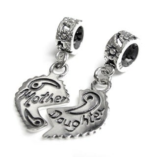 Queenberry Sterling Silver Mother/ Daughter Love Heart Flower Dangle European Bead Charm