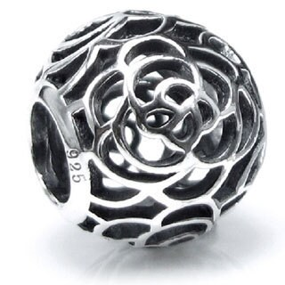 Queenberry Sterling Silver Round Rose Flower Floral Filigree European Bead Charm