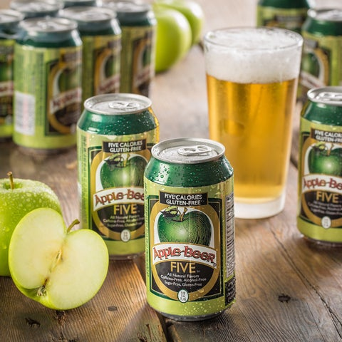 Apple Beer FIVE 5-calorie Non-alcoholic Sparkling Ale (Pack of 12)
