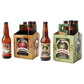 Apple Beer Original and FIVE Non-alcoholic Glass Bottle Sparkling Ale (Pack of 8)