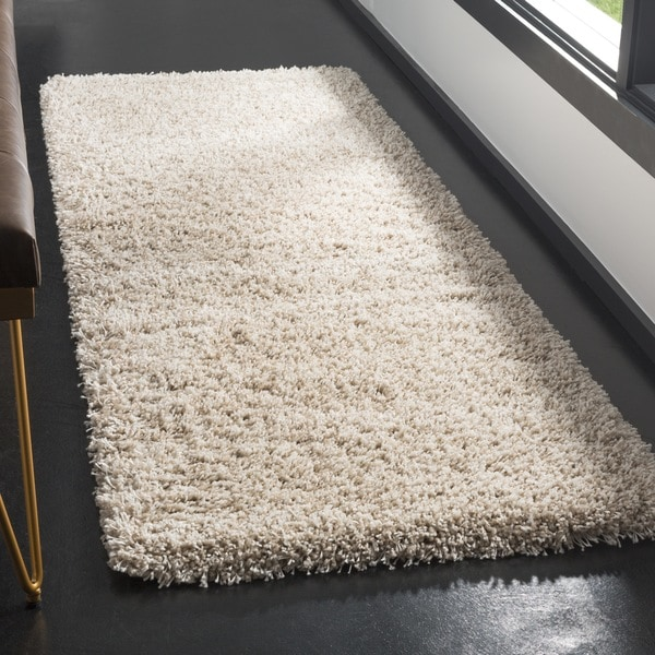 Safavieh California Cozy Plush Beige Shag Rug - 2'3 x 17'