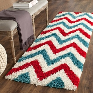 Safavieh Kids Shag Ivory/ Red Chevron Rug (2'3 x 7')
