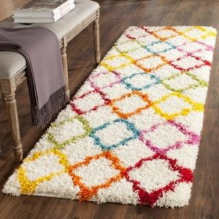 Safavieh Kids Shag Ivory/ Multi Rainbow Trellis Rug (2'3 x 7')