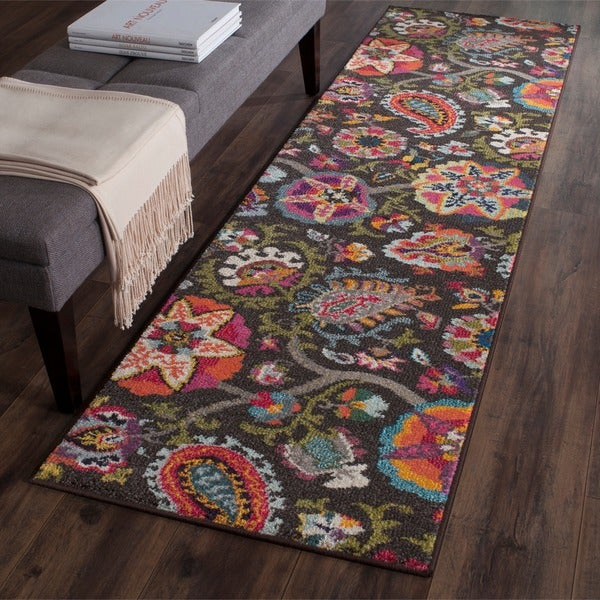 Safavieh Rag Rug Turquoise Multi 8 Ft X 10 Ft Area Rug: Safavieh Monaco Floral Brown/ Multicolored Rug