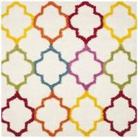 """Safavieh Kids Shag Ivory/ Multi Rainbow Trellis Rug - 6'7"""" x 6'7"""" square"""