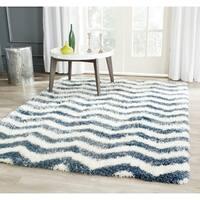 "Safavieh Montreal Shag Ivory/ Blue Stripe Polyester Rug - 6'7"" x 6'7"" square"