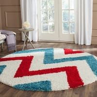 Safavieh Kids Shag Ivory/ Red Chevron Rug - 6'7 Round