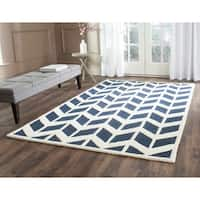 Safavieh Handmade Moroccan Cambridge Navy/ Ivory Wool Rug - 6' Square