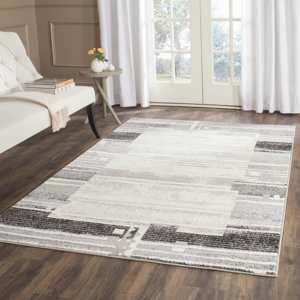 Safavieh Evoke Modern Border Cream/ Dark Grey Distressed Rug - 6' x 6' Square