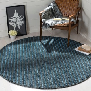 Safavieh Hand-knotted Bohemian Dark Blue/ Multi Hemp Rug (6' Round)