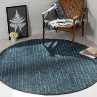 Safavieh Hand-knotted Bohemian Dark Blue/ Multi Hemp Rug - 6' Round