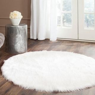 Safavieh Handmade Faux Sheep Skin Ivory Acrylic Rug (4' Round)