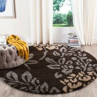 Safavieh Ultimate Shag Dark Brown/ Slate Grey Floral Area Rug - 4' Round