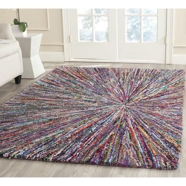 Safavieh Handmade Nantucket Modern Abstract Multicolored Cotton Rug - 4' x 4' Square