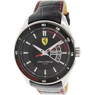 Ferrari Men's 0830183 Black Leather Quartz Watch