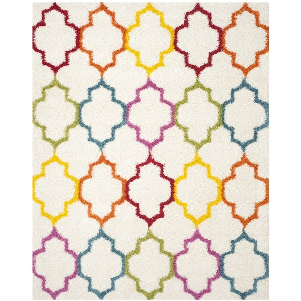 Safavieh Kids Shag Ivory/ Multi Rainbow Trellis Rug - 8'6 x 12'
