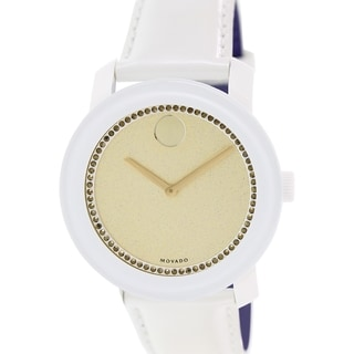 Movado Women's Bold 3600220 White Leather Swiss Quartz Watch