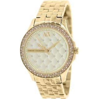 Armani Exchange Women's AX5216 Goldtone Stainless Steel Quartz Watch https://ak1.ostkcdn.com/images/products/9954453/P17108214.jpg?impolicy=medium