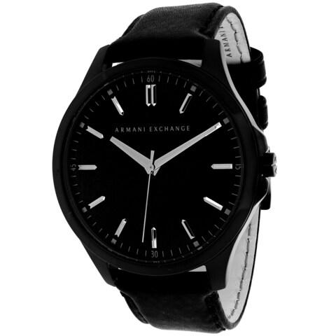 Armani Exchange Men's Black Leather Quartz Watch