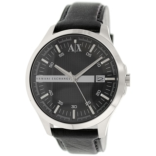 Armani Exchange Men's AX2101 Black Leather Quartz Watch