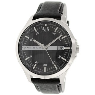 Armani Exchange Men's AX2101 Black Leather Quartz Watch