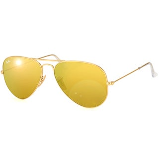 Ray-Ban Aviator RB 3025 Unisex Gold Frame Yellow Flash Lens Sunglasses