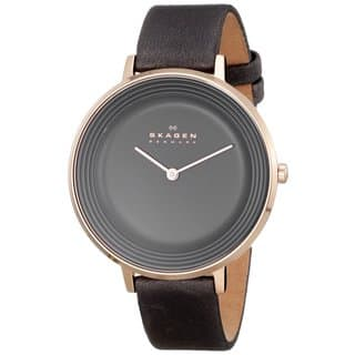 Skagen Women's Ditte SKW2216 Charcoal Grey Leather Quartz Watch|https://ak1.ostkcdn.com/images/products/9954475/P17108229.jpg?impolicy=medium