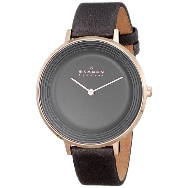 Skagen Women's Ditte SKW2216 Charcoal Grey Leather Quartz Watch